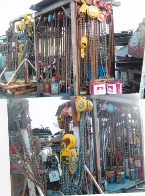 palan � chaine, manutention, outillage, atelier de machinage et de soudure, machinerie lourde, treuil, chaine,  tire fort, levage, palan