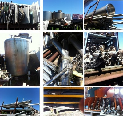 Stainless, boulons, vis, shaft, cuve, grillages, valves, tuyaux,plaques, tamis